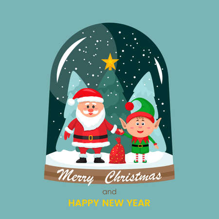 Christmas card. Vector illustration of a glass snow globe with Santa Claus, a bag of gifts and a little elf in a hat on the background of the forest and a Christmas tree inside Stock Illustratie