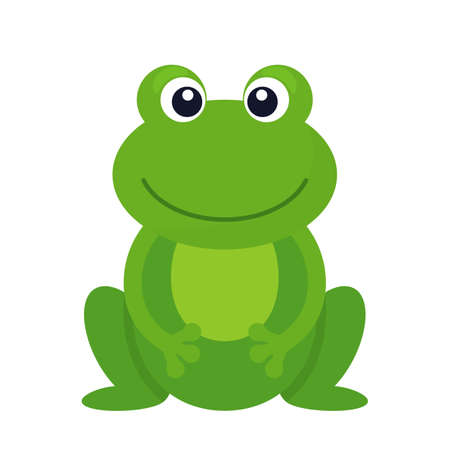 Character of funny green frog isolated on white background. flat vector illustration
