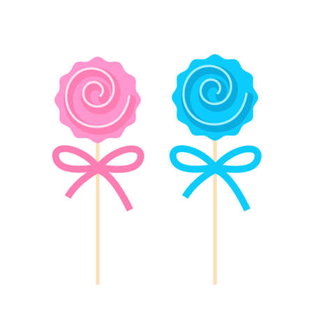 Two caramels on sticks. Baby shower. vector illustration isolated on white background