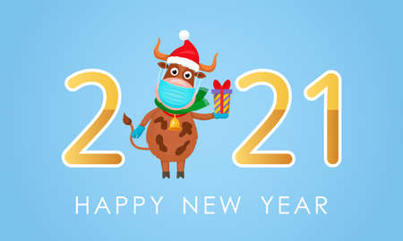 greeting card with 2021 year of the bull. Cheerful ox in a medical mask and gloves with a gift with a bow. covid prevention concept19. stay at home. vector 向量圖像