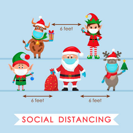 Santa Claus in a hat with a bag of gifts, an elf and a polar deer in a red scarf and a bull with a gift in a cartoon style and an elf girl. social distancing concept due to covid 19. stay home