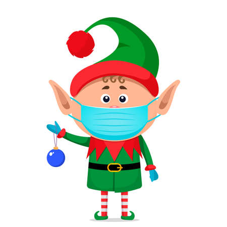 little elf in a medical mask and surgical gloves holds a New Year's ball in his hand. Covid 19 prevention concept. Stay home. flat vector illustration isolate