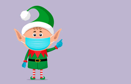 little elf in a medical mask and surgical gloves holds . Covid 19 prevention concept. Stay home. flat vector illustration isolate 向量圖像