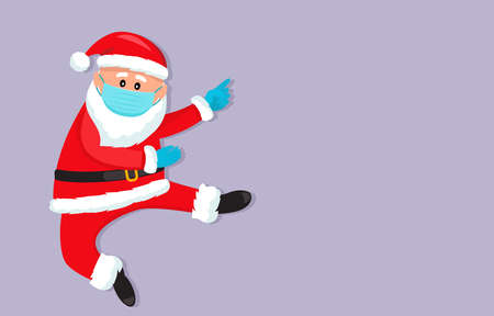 Santa Claus in a medical mask and surgical gloves. Covid 19 prevention concept. Stay home. flat vector illustration isolate