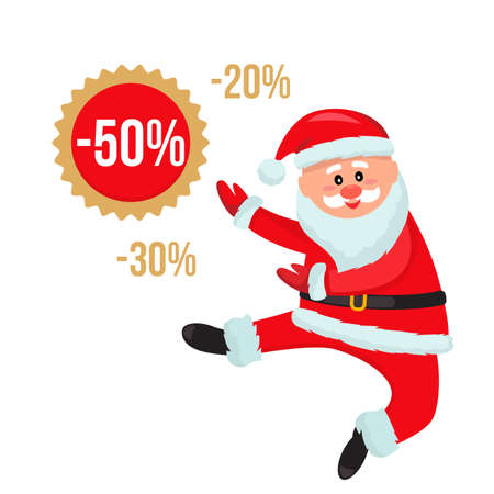Jolly Santa Claus is jumping with joy from the Christmas sale. new year shopping concept. flat vector illustration