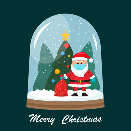 Christmas card. Vector illustration of a glass snow globe with Santa Claus in a medical mask and surgical gloves, a bag of gifts on a forest background and a Christmas tree inside. Prevention of covid