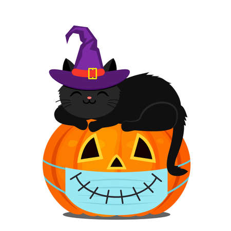 A cute black kitten in a purple witch hat sleeps on an orange pumpkin for Halloween. flat vector illustration isolated on white background