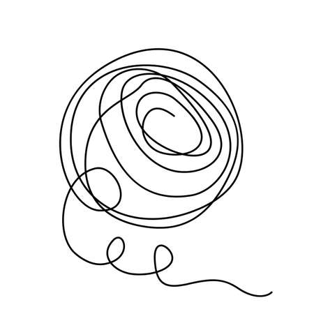 Stylized Ball of Threads Theory of Chaos and Order. icon in flat style isolated on white background in linear style