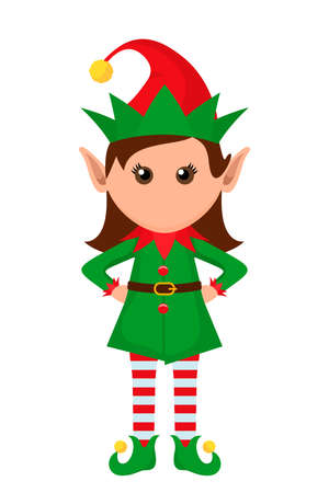 Little character of a funny girl elf in a suit. vector illustration isolated on white background