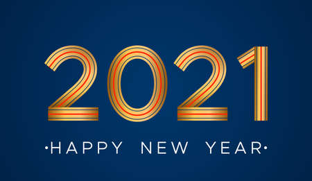 Happy new year 2021 greeting card in linear style.