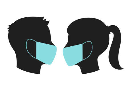head silhouette of a man and a woman in a medical mask during the quarantine period with covid 19. flat vector illustration isolated on white background