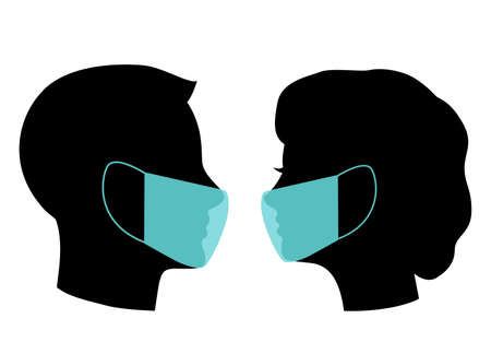 head silhouette of a man and a woman in a medical mask during the quarantine Reklamní fotografie - 158721048