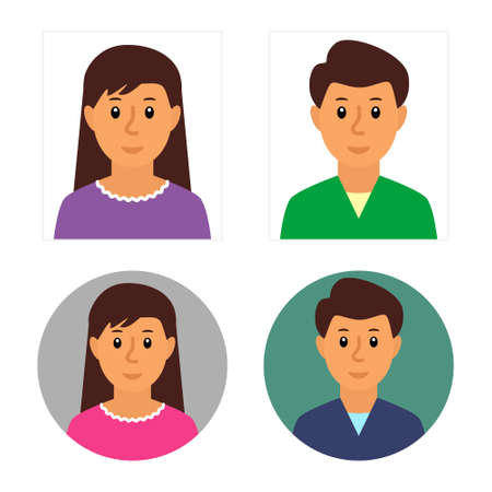 Men and women avatars face set. Flat vector illustrations