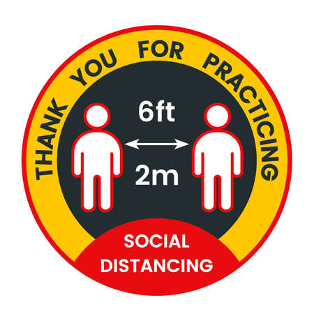 Floor sticker about social distance during the covid-19 pandemic. disease prevention. 向量圖像