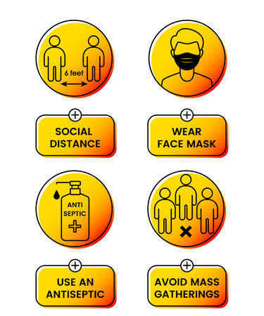 safety instructions for covid 19 during quarantine. wear a mask. keep your distance.
