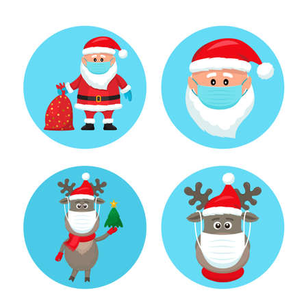 set of Christmas pandemic stickers. Santa Claus, deer, in medical protective masks.