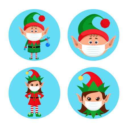 set of Christmas pandemic stickers. elf boy and elf girl in medical protective masks 向量圖像