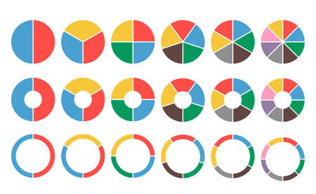 Large set of colored pie charts. 2,3,4,5,6,8 sections. Flat icons