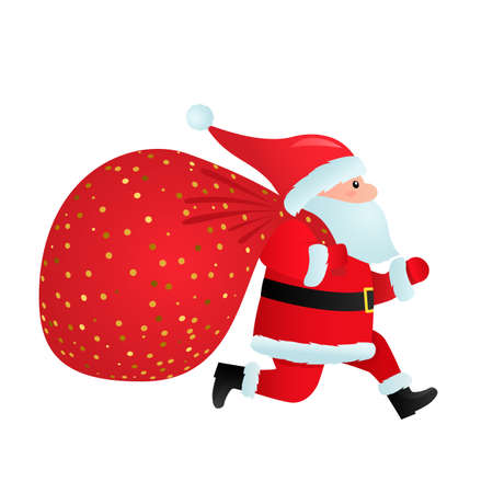 Santa claus in a hat with a full sack of gifts runs with delivery. 向量圖像