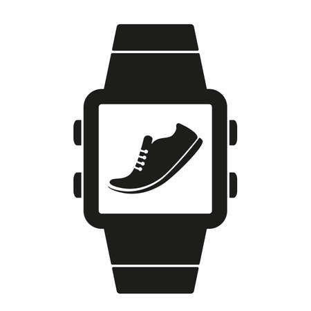 icon of pedometer on smart watch smartwatch. black silhouette Reklamní fotografie - 158855550
