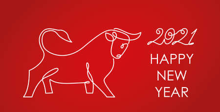 greeting card Happy new 2021 year of the bull on the Chinese calendar. linear vector illustration isolated on red background