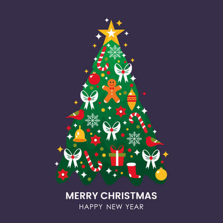 greeting christmas and greeting card with flat icons . flat vector illustration isolated on dark background