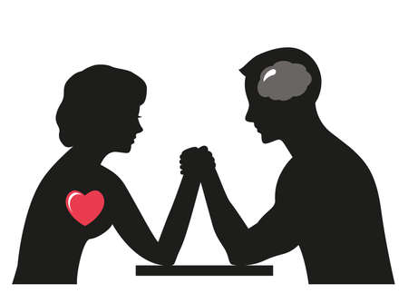 man versus woman, confrontation and competition. family psychology and the fight against stereotypes. silhouettes of man and woman. vector illustration