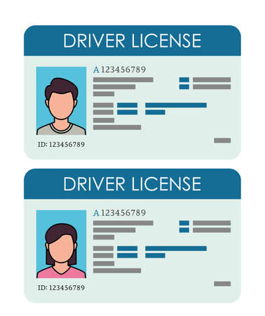 driver's license template with man and woman face. vector illustration isolated on white background Vektorgrafik