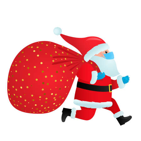 Santa Claus in a medical mask and gloves with a full bag of gifts runs with delivery. concept of christmas holidays during covid 19 pandemic and quarantine. vector illustration isolated Ilustrace