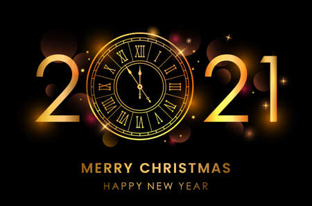 2021. happy new years. with clock gold and black design. Vector Illustration Reklamní fotografie - 159490882