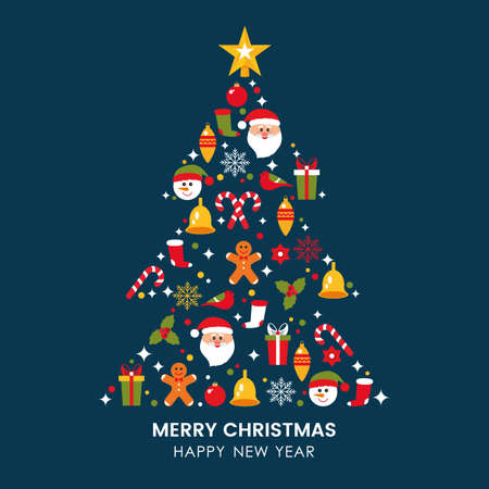 greeting christmas and greeting card with flat icons such as santa claus, snowman, gift, bell, holly, gingerbread. flat vector illustration isolated on dark background Reklamní fotografie - 159480499