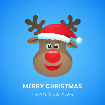 ute deer in santa claus hat with a smile. greeting christmas card or invitation. vector illustration
