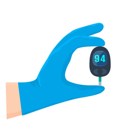 a doctor's hand in a medical glove holds a glucometer to measure blood sugar. diabetes treatment and prevention concept. vector illustration