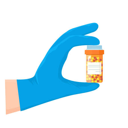 A doctor holding a medicine in a medical glove. concept of treatment and prevention of covid 19.Vector illustration isolated on white background