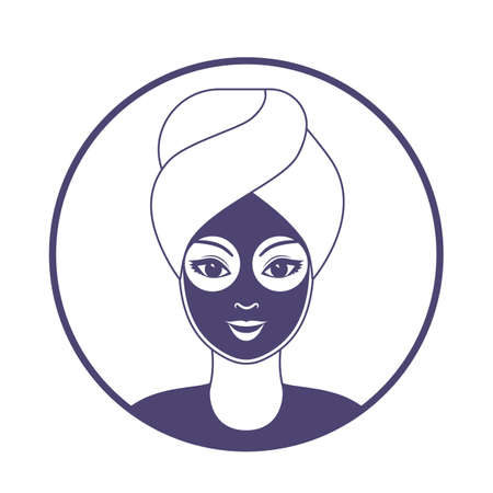 beautiful woman with a mask on her face and a towel on her head in a spa salon. vector illustration