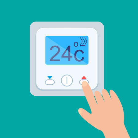 Electronic thermostat with a screen for the underfloor heating. Temperature control is insulated Vector illustration
