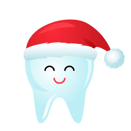 cute tooth character in red santa claus hat smiling. vector illustration. christmas and new year concept Reklamní fotografie - 159480933