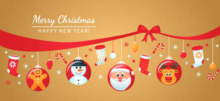 greeting card, Christmas poster or packaging. christmas balls with the faces of santa claus, elf girl, snowman, deer, gingerbread and other decorations with a congratulatory inscription. vector