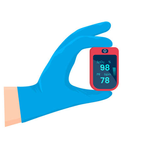 a doctor's hand in a medical glove holds a pulse oximeter. prevention and treatment of pneumonia with covid 19.Vector illustration isolated on white background