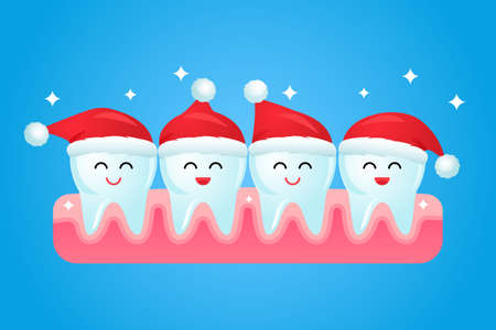 cute cartoon teeth in red Santa Claus hat smiling. vector illustration. christmas and new year concept