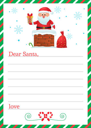 Dear santa claus, blank letter template with christmas symbols. vector illustration isolated on white background