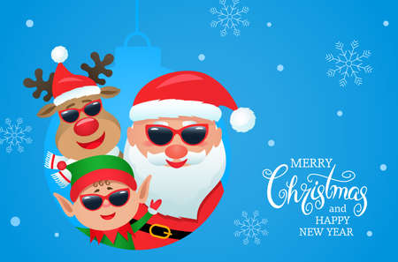 Merry Christmas and Happy New Year 2021 greeting card with funny Santa Claus, reindeer and elf. Winter Holidays cartoon characters. vector illustration on background of snow and snowflakes