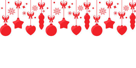 Christmas endless garland of Christmas tree decorations, balls, stars, hearts with bows and snowflakes. seamless pattern. vector illustration isolated on white background