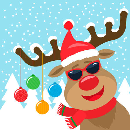 christmas greeting banner with a merry deer on the horns christmas balls. new year holidays concept. vector illustration
