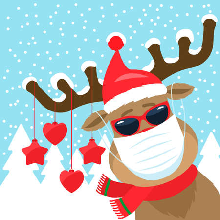 christmas deer with antlers and a medical mask. the concept of quarantine during the new year holidays with covid19. vector illustration Ilustrace