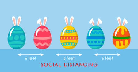 cute colorful easter eggs with bath bunny ears and ornaments during the coronavirus epidemic. social distancing concept covid19. vector illustration