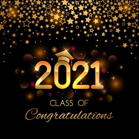 graduation greeting banner with golden shooting stars, shine and glitter. graduation 2021 with graduate cap. vector illustration on black background