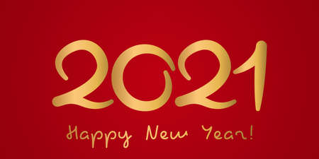 happy new year 2021 greeting banner. golden numbers on a red background. vector illustration