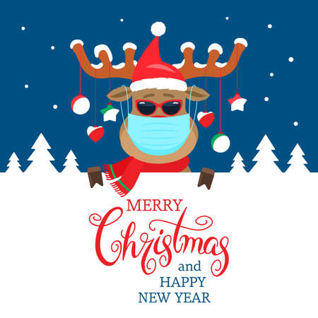 christmas deer with antlers and a medical mask.