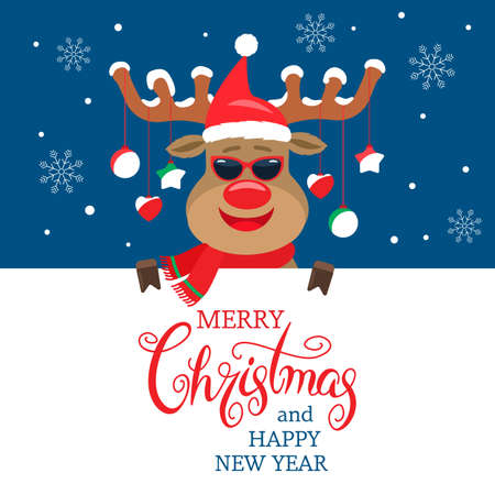 christmas greeting banner with a merry deer on the horns christmas balls.